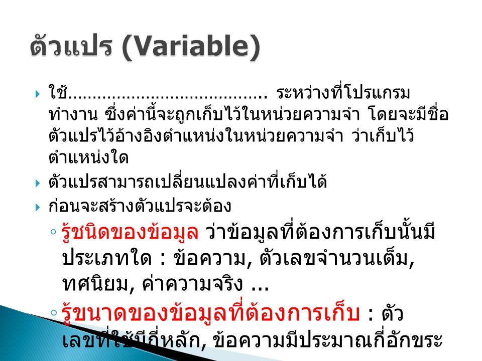 ตัวแปร (Variable)