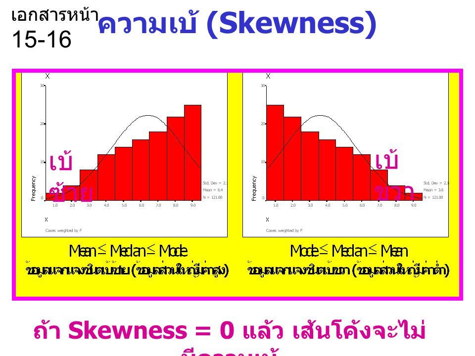 ถ้า Skewness = 0 แล้ว เส้นโค้งจะไม่มีความเบ้