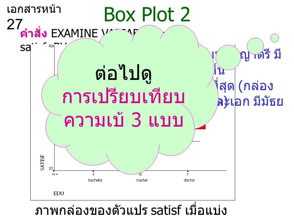 Box Plot 2 ต่อไปดู การเปรียบเทียบ ความเบ้ 3 แบบ