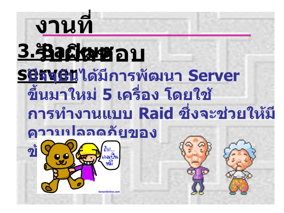 งานที่รับผิดชอบ 3. Backup server