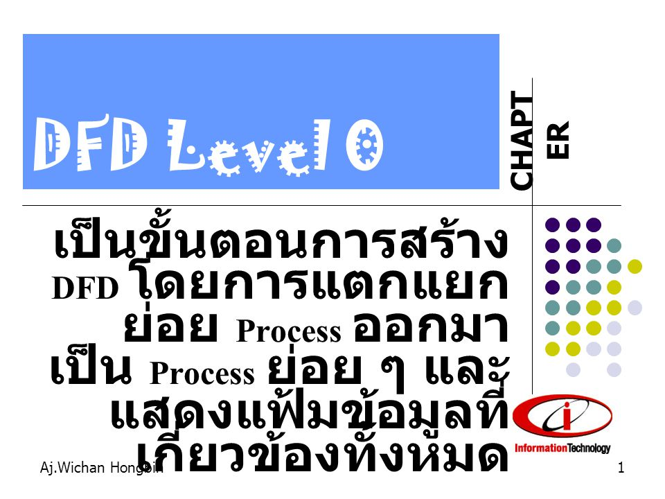 DFD Level 0 เป็นขั้นตอนการสร้าง DFD โดยการแตกแยกย่อย Process ออกมาเป็น Process ย่อย ๆ และแสดงแฟ้มข้อมูลที่เกี่ยวข้องทั้งหมด.