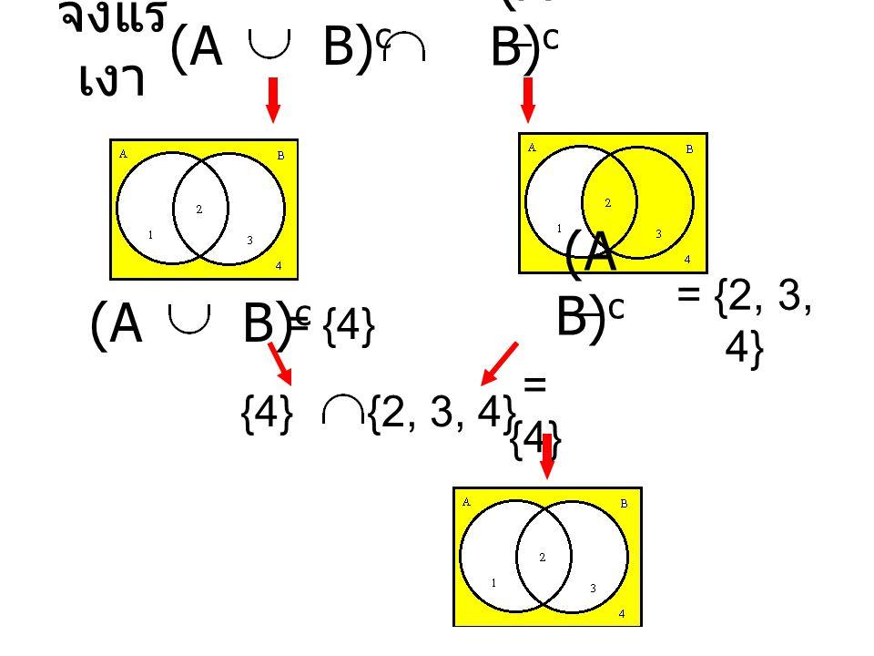 จงแรเงา (A B)c (A B)c (A B)c (A B)c = {4} = {2, 3, 4} {4} {2, 3, 4}