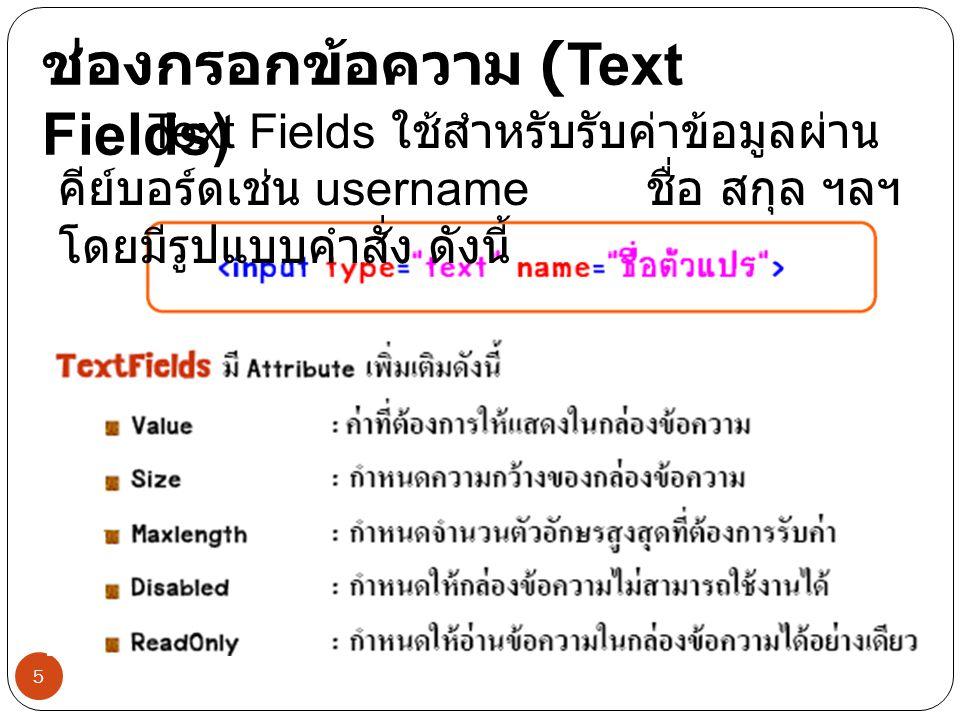 ช่องกรอกข้อความ (Text Fields)