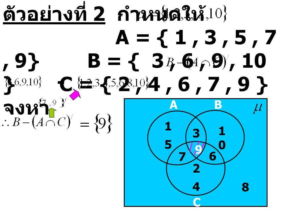 ตัวอย่างที่ 2 กำหนดให้. A = { 1 , 3 , 5 , 7 , 9}