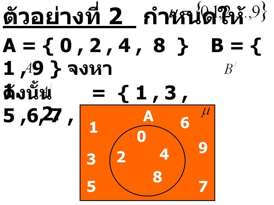 ตัวอย่างที่ 2 กำหนดให้ A = { 0 , 2 , 4 , 8 } B = { 1 , 9 } จงหา 1. 2.