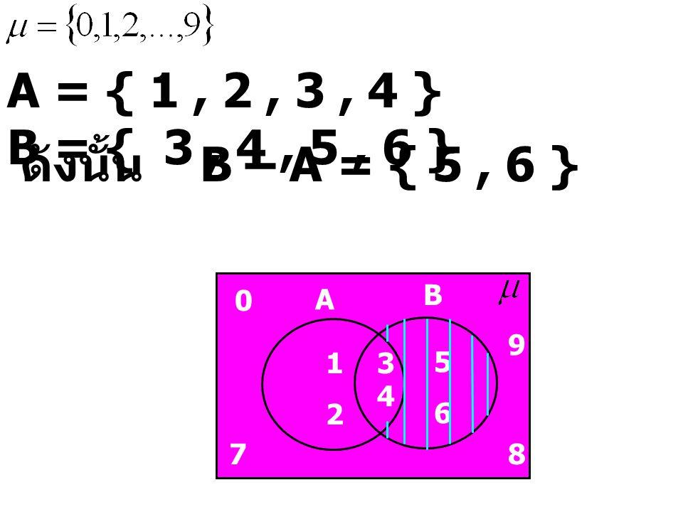 A = { 1 , 2 , 3 , 4 } B = { 3 , 4 , 5 , 6 } ดังนั้น B – A = { 5 , 6 }
