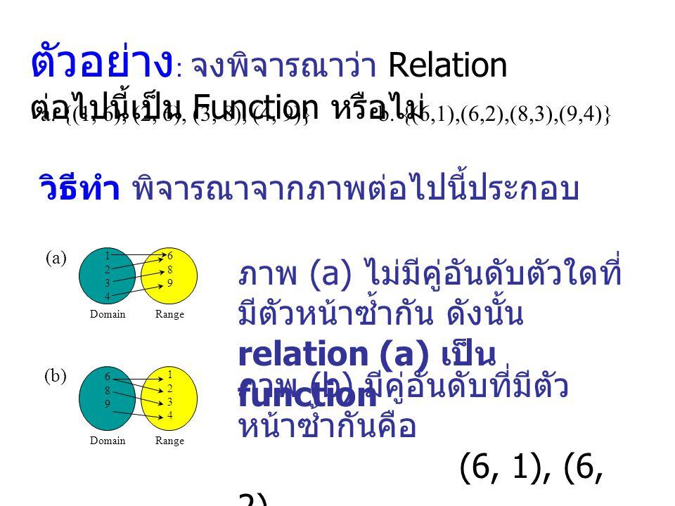 ตัวอย่าง: จงพิจารณาว่า Relation ต่อไปนี้เป็น Function หรือไม่