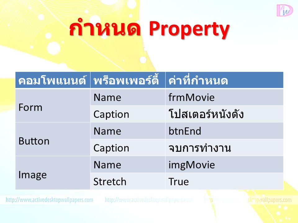กำหนด Property คอมโพแนนต์ พร็อพเพอร์ตี้ ค่าที่กำหนด Form Name frmMovie