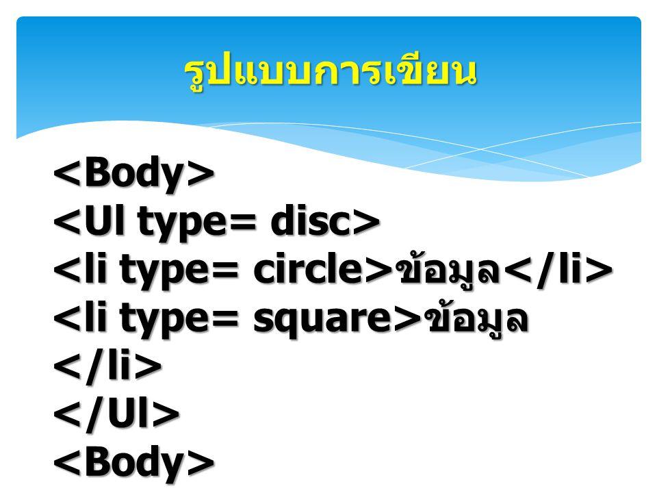 รูปแบบการเขียน <Body> <Ul type= disc> <li type= circle>ข้อมูล</li> <li type= square>ข้อมูล</li> </Ul>