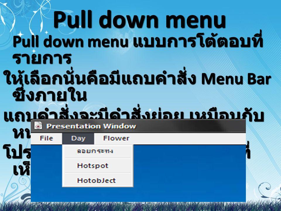 Pull down menu Pull down menu แบบการโต้ตอบที่รายการ