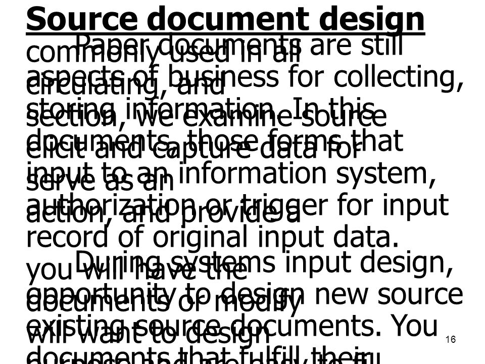 Source document design