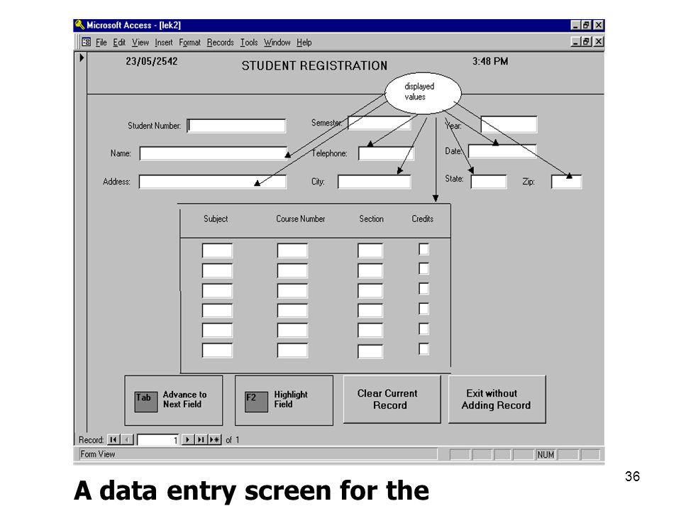 A data entry screen for the student registration form