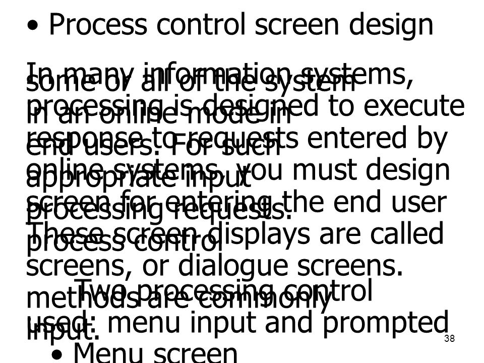 Process control screen design