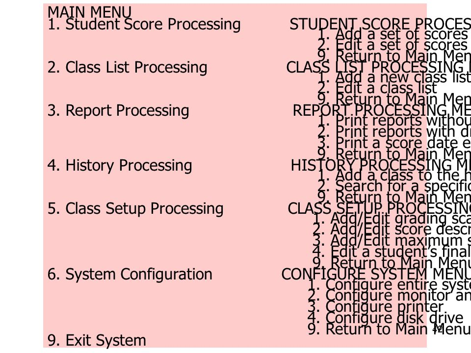 MAIN MENU 1. Student Score Processing STUDENT SCORE PROCESSING MENU. 1. Add a set of scores.