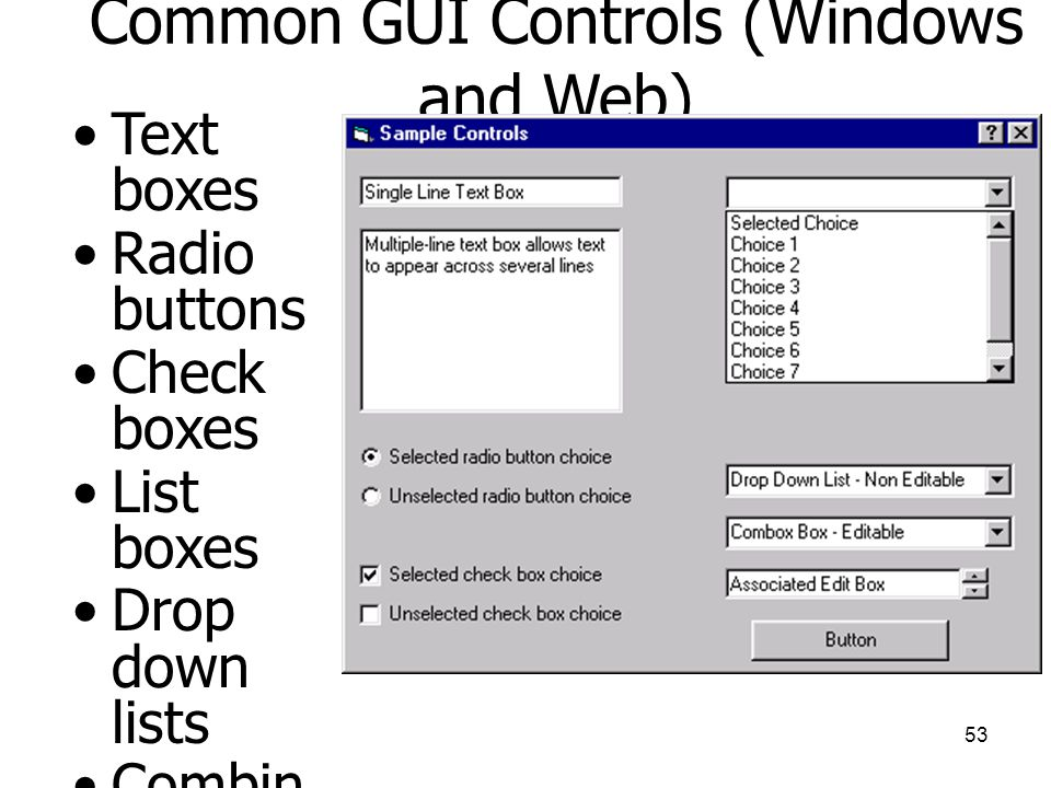Common GUI Controls (Windows and Web)