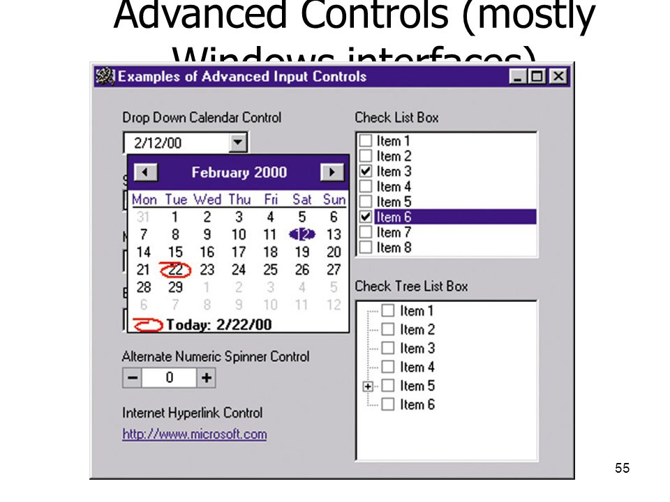 Advanced Controls (mostly Windows interfaces)
