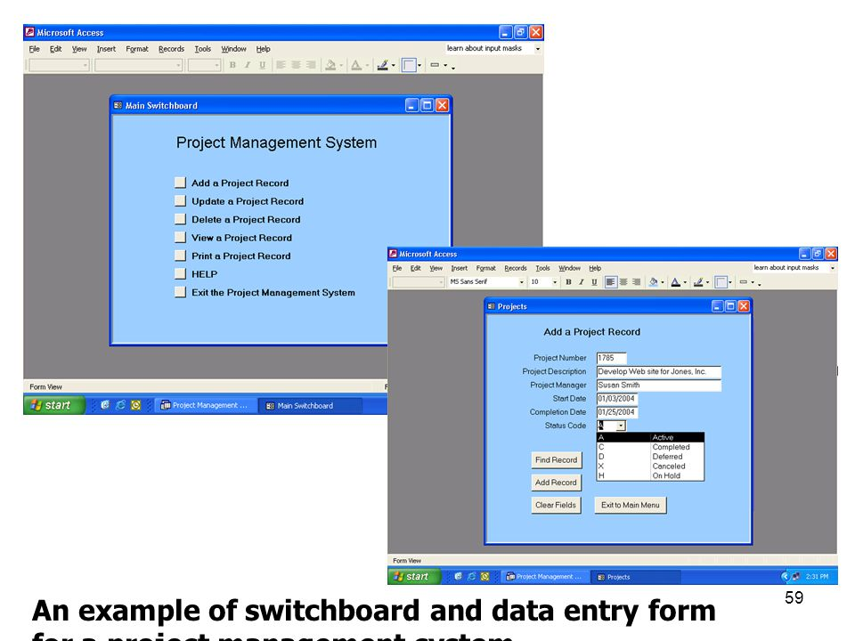 An example of switchboard and data entry form for a project management system