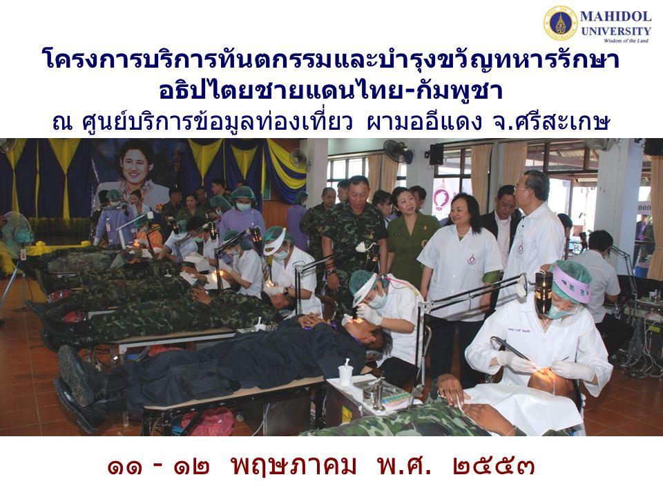 โครงการบริการทันตกรรมและบำรุงขวัญทหารรักษาอธิปไตยชายแดนไทย-กัมพูชา ณ ศูนย์บริการข้อมูลท่องเที่ยว ผามออีแดง จ.ศรีสะเกษ
