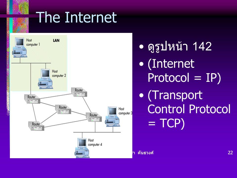 The Internet ดูรูปหน้า 142 (Internet Protocol = IP)