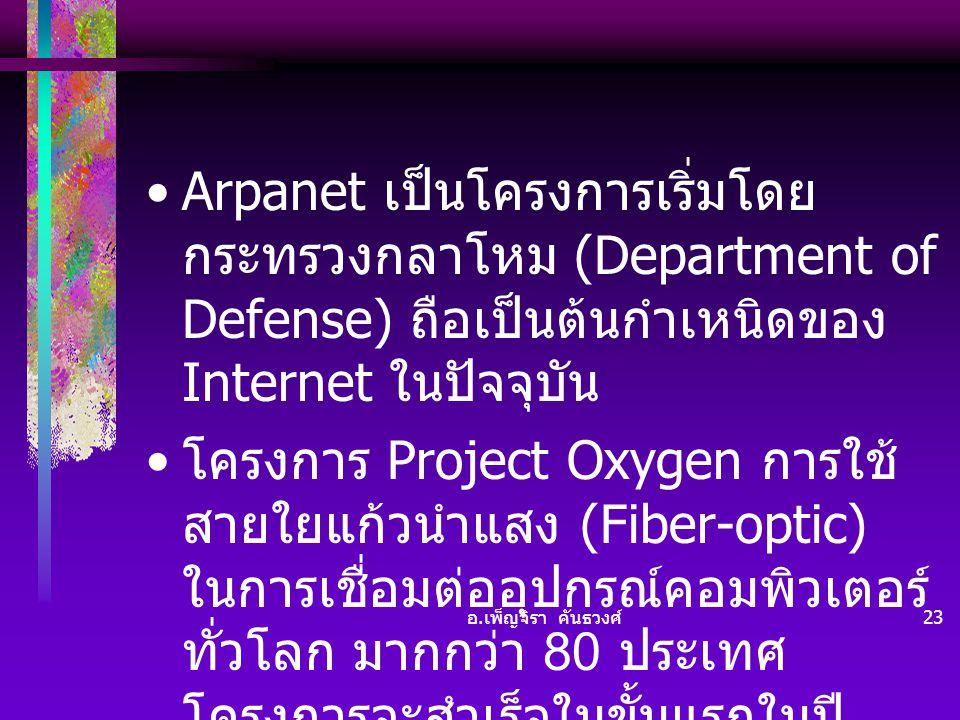Arpanet เป็นโครงการเริ่มโดย กระทรวงกลาโหม (Department of Defense) ถือเป็นต้นกำเหนิดของ Internet ในปัจจุบัน