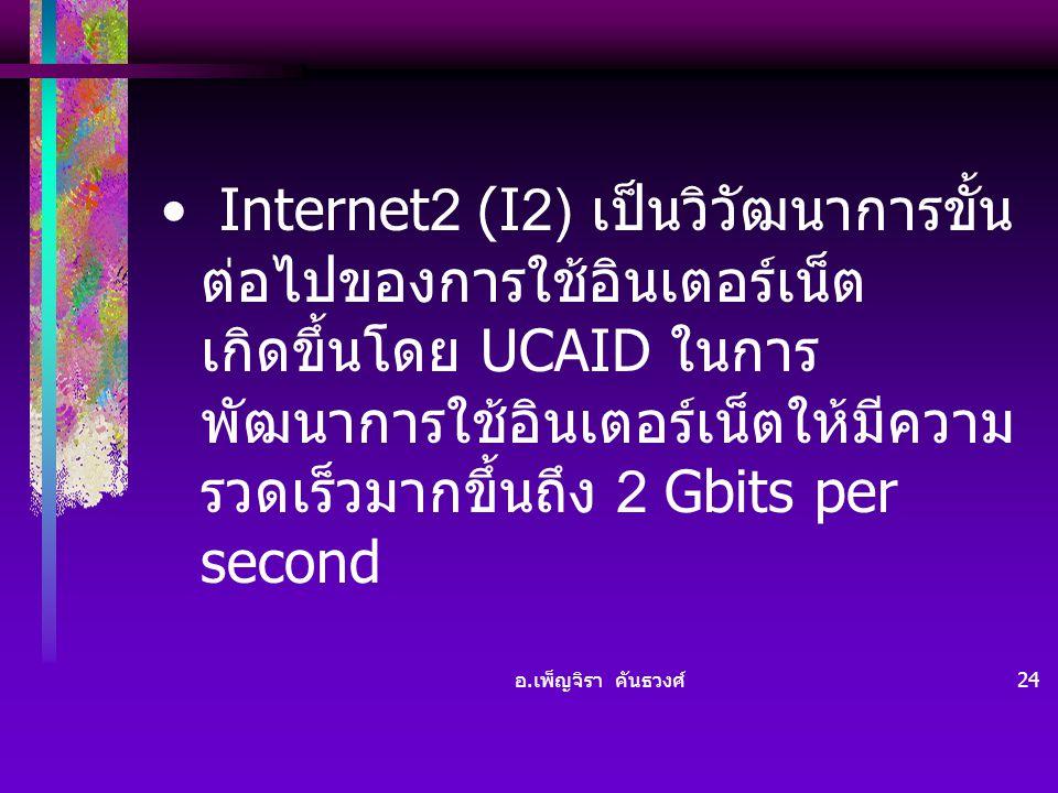 Internet2 (I2) เป็นวิวัฒนาการขั้นต่อไปของการใช้อินเตอร์เน็ต เกิดขึ้นโดย UCAID ในการพัฒนาการใช้อินเตอร์เน็ตให้มีความรวดเร็วมากขึ้นถึง 2 Gbits per second