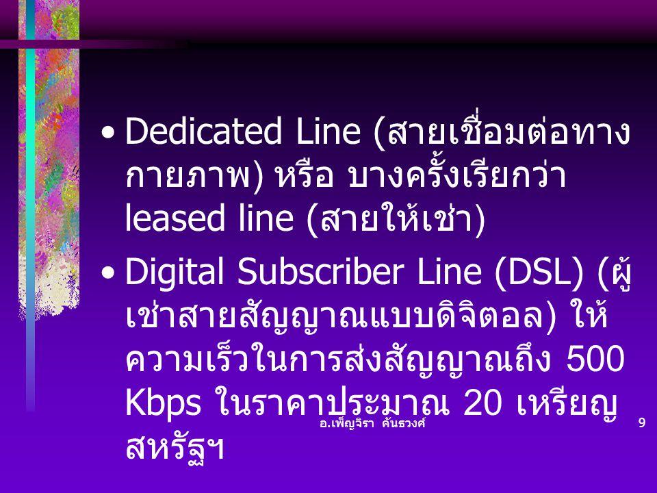 Dedicated Line (สายเชื่อมต่อทางกายภาพ) หรือ บางครั้งเรียกว่า leased line (สายให้เช่า)