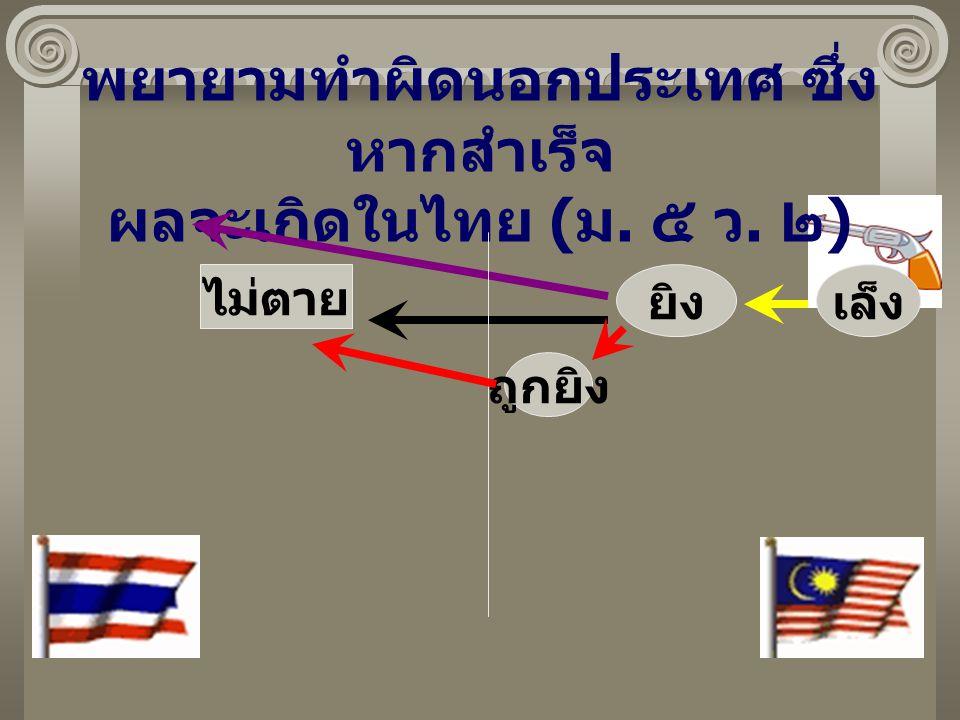 พยายามทำผิดนอกประเทศ ซึ่งหากสำเร็จ ผลจะเกิดในไทย (ม. ๕ ว. ๒)