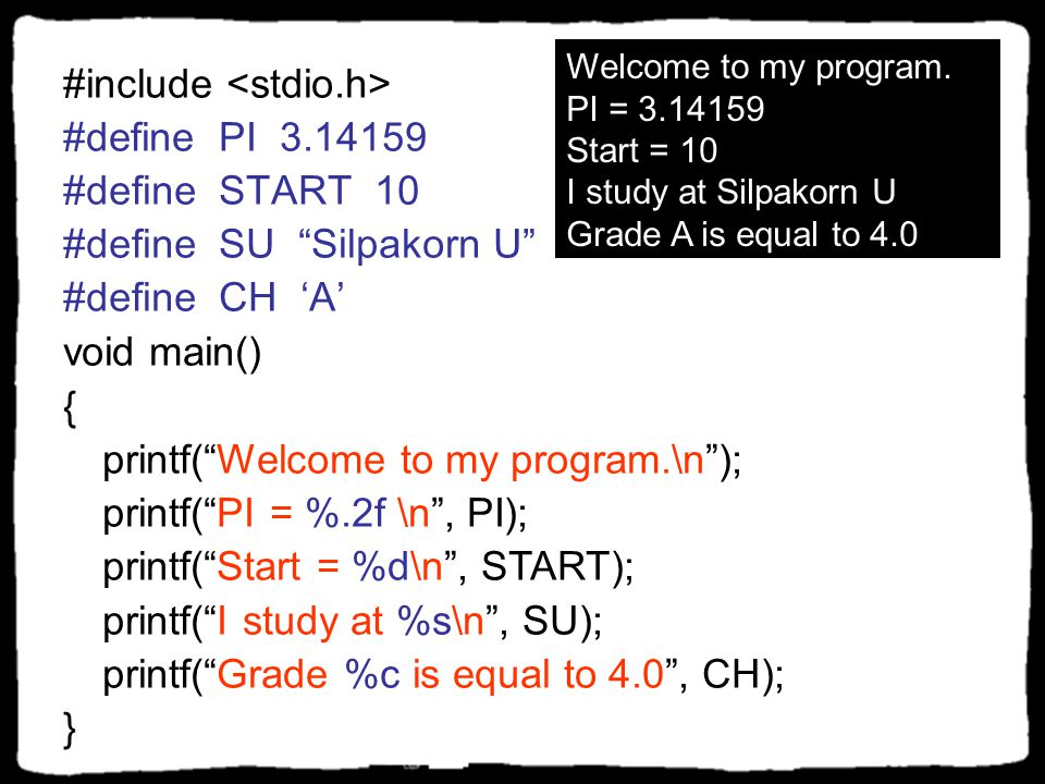 #include <stdio.h> #define PI 3.14159 #define START 10
