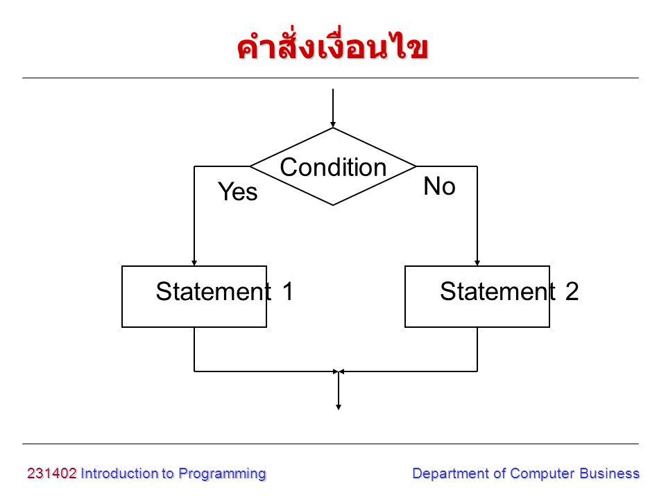 คำสั่งเงื่อนไข Condition Statement 1 Statement 2 Yes No