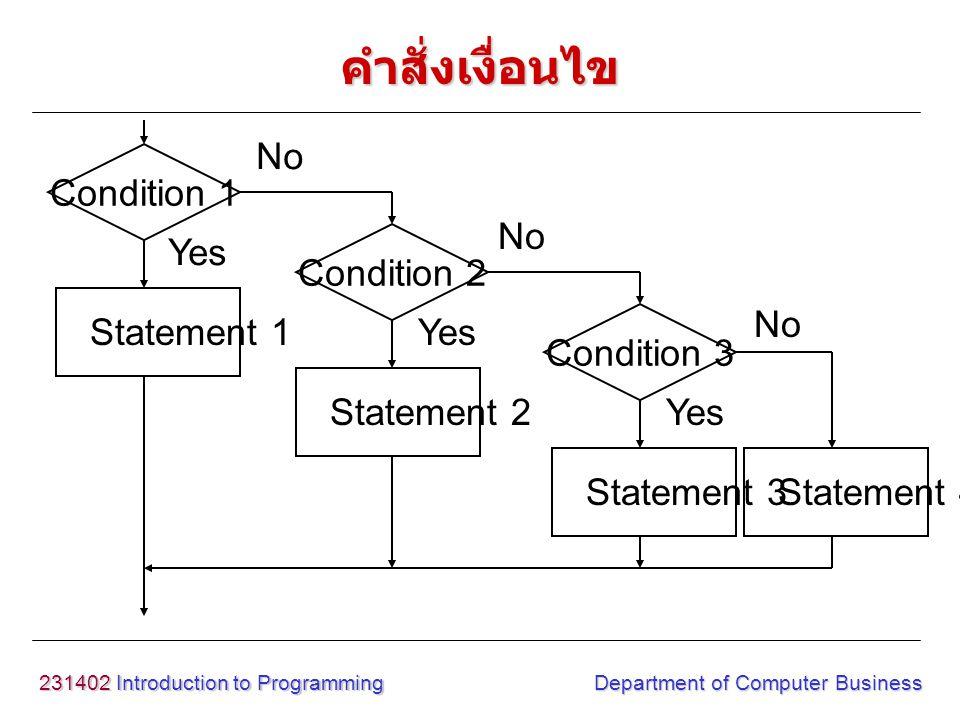 คำสั่งเงื่อนไข Condition 1 Condition 2 Condition 3 Statement 1