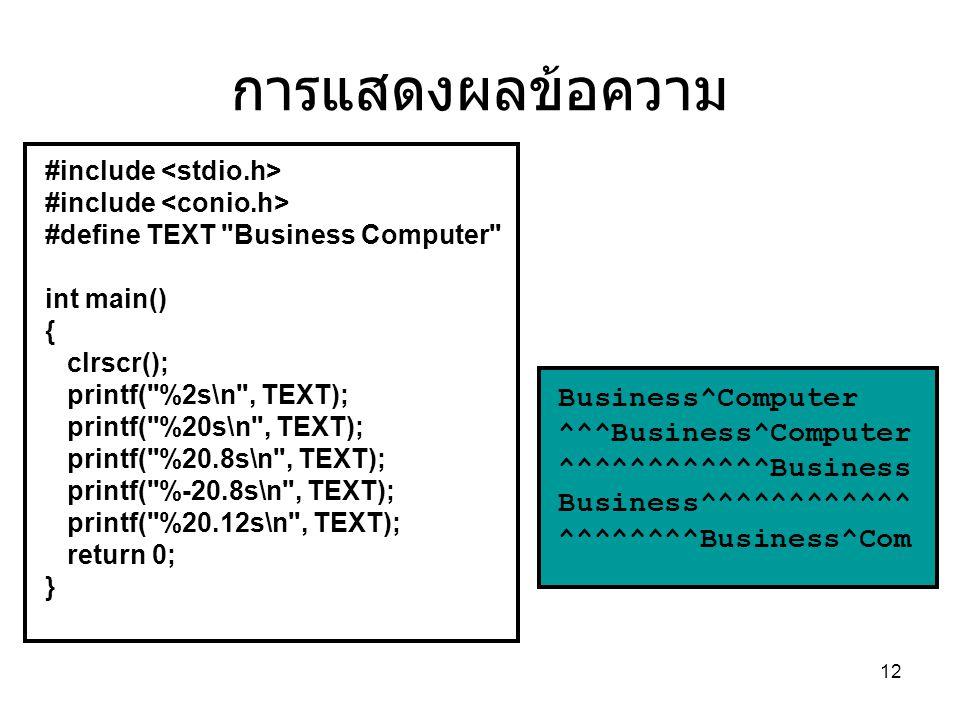 การแสดงผลข้อความ Business^Computer ^^^Business^Computer