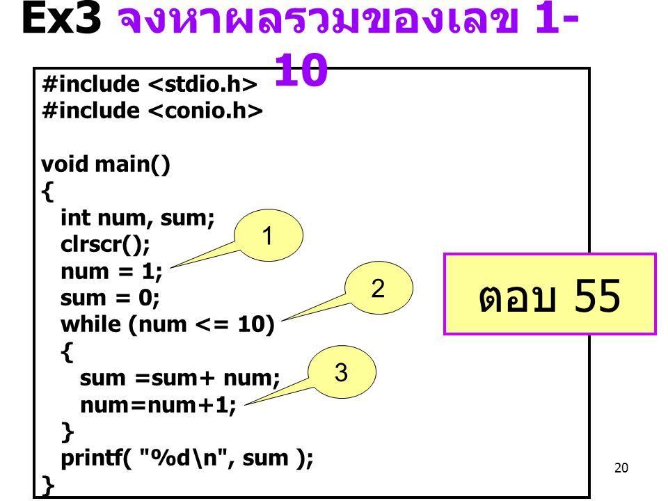 Ex3 จงหาผลรวมของเลข 1-10 ตอบ 55 1 2 3 #include <stdio.h>