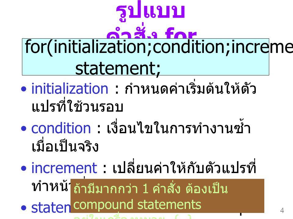 รูปแบบคำสั่ง for for(initialization;condition;increment) statement;