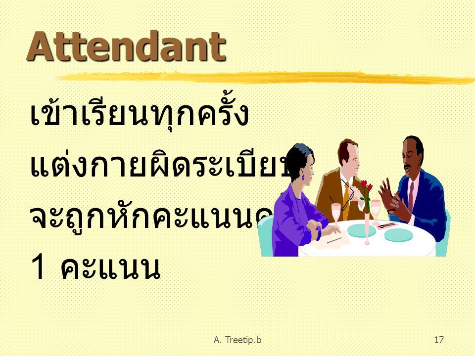 Attendant เข้าเรียนทุกครั้ง แต่งกายผิดระเบียบ จะถูกหักคะแนนครั้งละ