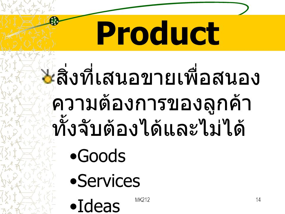 Product สิ่งที่เสนอขายเพื่อสนองความต้องการของลูกค้า ทั้งจับต้องได้และไม่ได้ Goods. Services. Ideas.