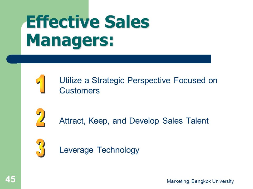 Effective Sales Managers: