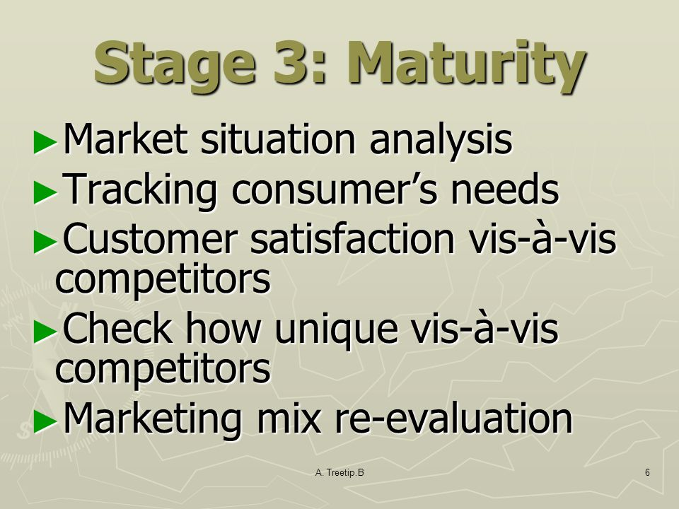 Stage 3: Maturity Market situation analysis Tracking consumer's needs