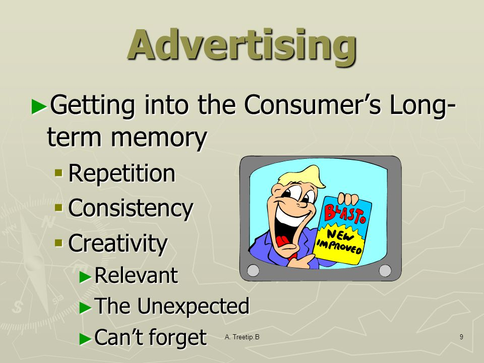 Advertising Getting into the Consumer's Long-term memory Repetition