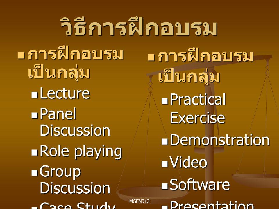 วิธีการฝึกอบรม การฝึกอบรมเป็นกลุ่ม การฝึกอบรมเป็นกลุ่ม Lecture