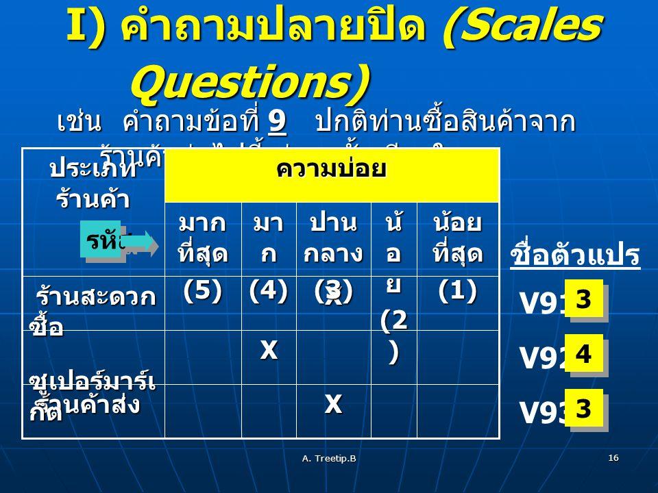 I) คำถามปลายปิด (Scales Questions)