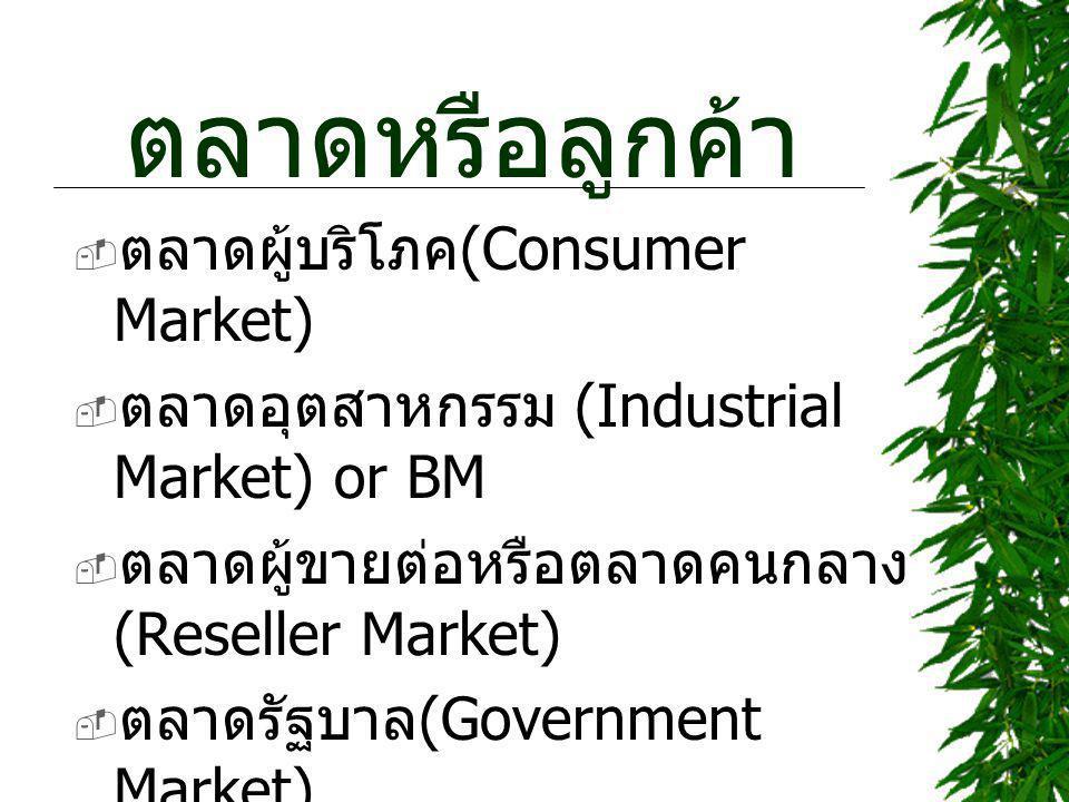 ตลาดหรือลูกค้า ตลาดผู้บริโภค(Consumer Market)