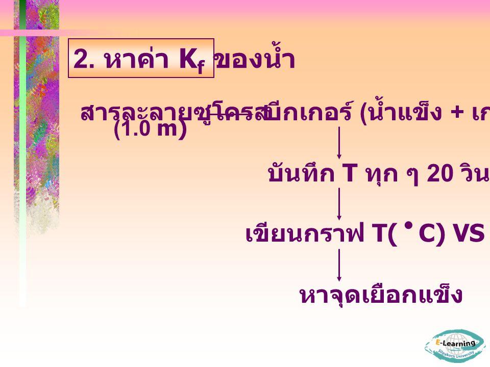 2. หาค่า Kf ของน้ำ สารละลายซูโครส บีกเกอร์ (น้ำแข็ง + เกลือ)