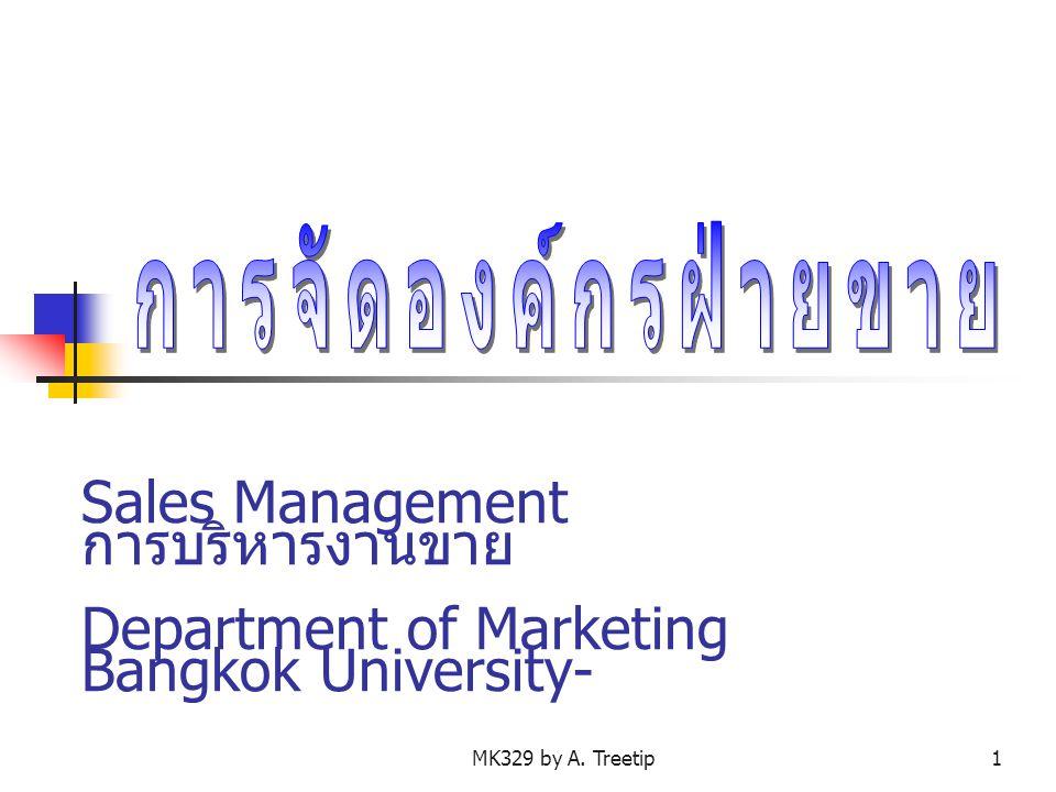 การจัดองค์กรฝ่ายขาย Sales Management การบริหารงานขาย Department of Marketing Bangkok University-