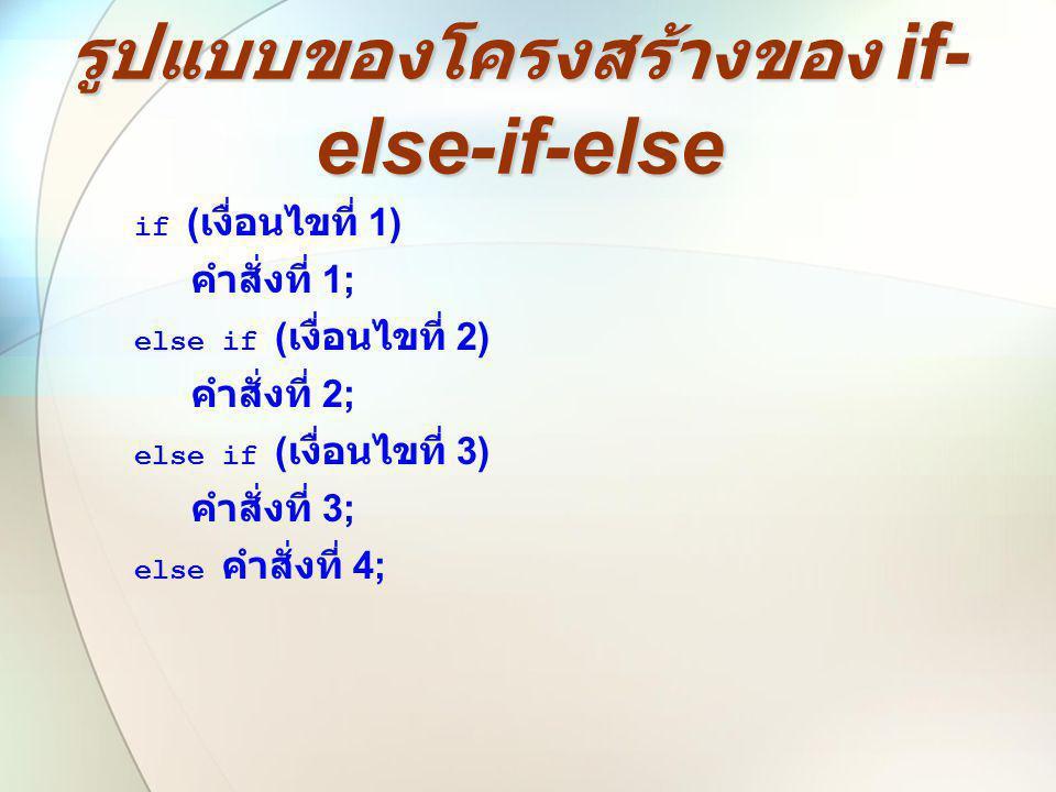 รูปแบบของโครงสร้างของ if-else-if-else