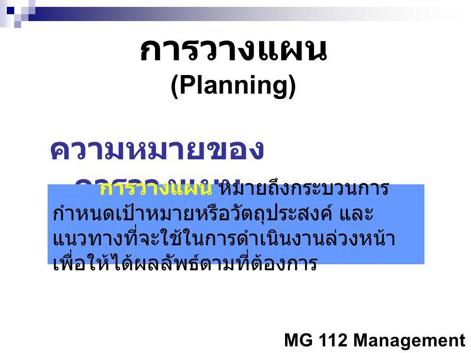 ความหมายของการวางแผน