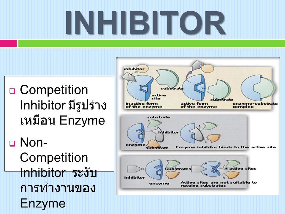 INHIBITOR Competition Inhibitor มีรูปร่าง เหมือน Enzyme