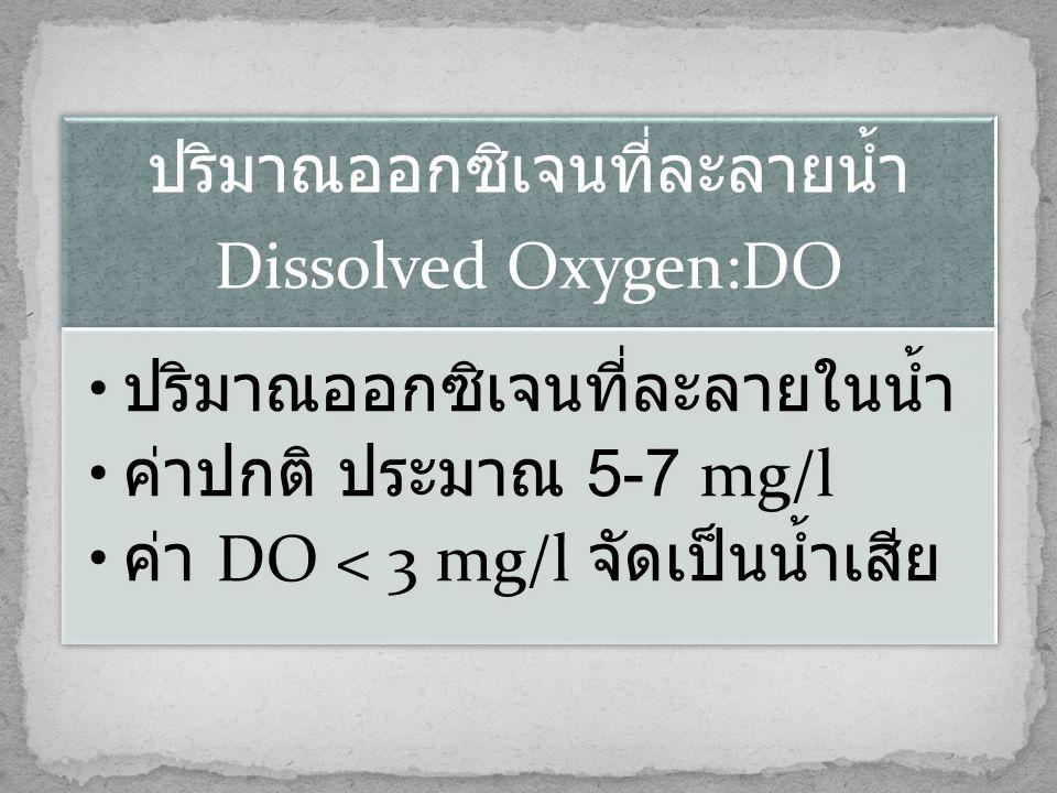 ปริมาณออกซิเจนที่ละลายน้ำ