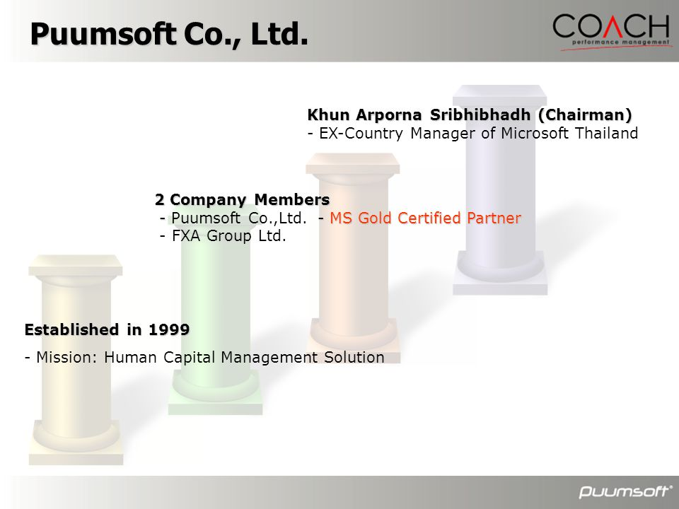 Puumsoft Co., Ltd. Khun Arporna Sribhibhadh (Chairman)