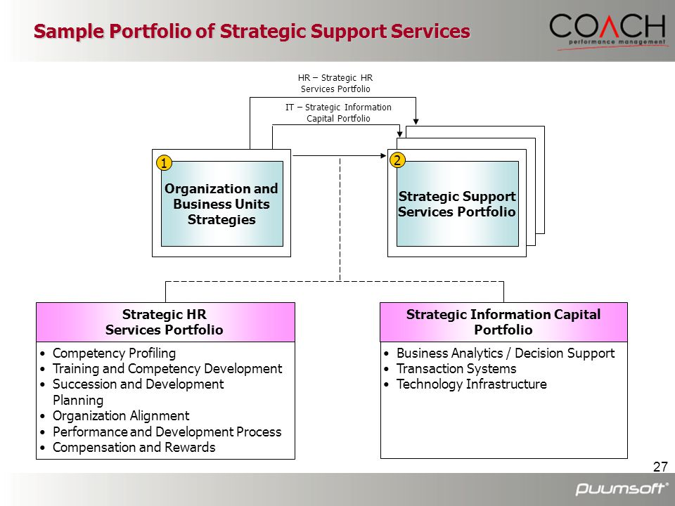 Sample Portfolio of Strategic Support Services