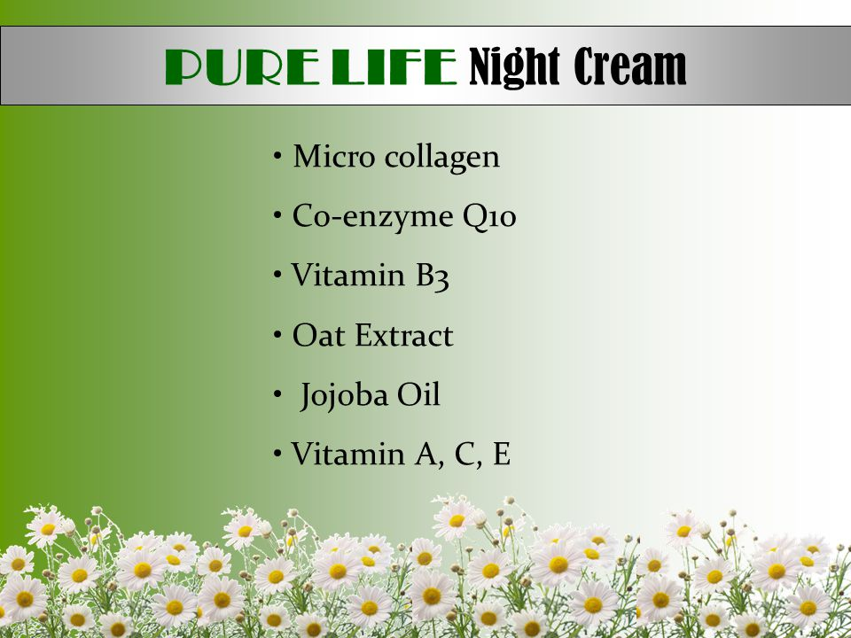 PURE LIFE Night Cream Micro collagen Co-enzyme Q10 Vitamin B3